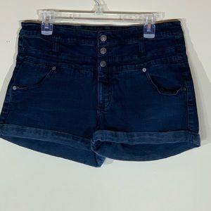 Mossimo High Rise cuffed Blue/black Shorts - 16